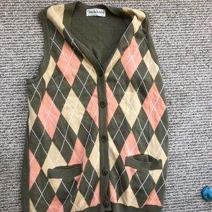 Vintage Diane Von Furstenberg Argyle Sweater Vest